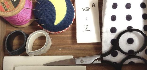 裁縫道具をお持ちでない方、仕立て屋さんが見繕った、最低限の道具をセットにした裁縫箱も、ご用意しましたよ。