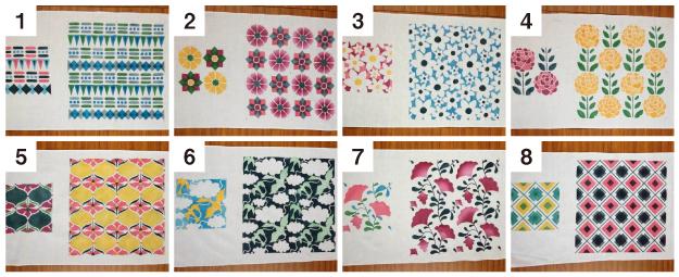 今回は3枚型を8種類ご用意しましたので、柄はお申し込み時に選んでください。色は紺、水色、濃ピンク、淡ピンク、黄、緑の6色から当日お好きなものをお選びください。