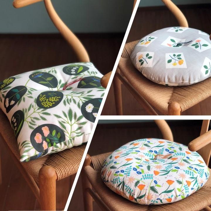 座布団ワークショップでは、洛中高岡屋さんと一緒にこんな可愛いおざぶを作ります。
