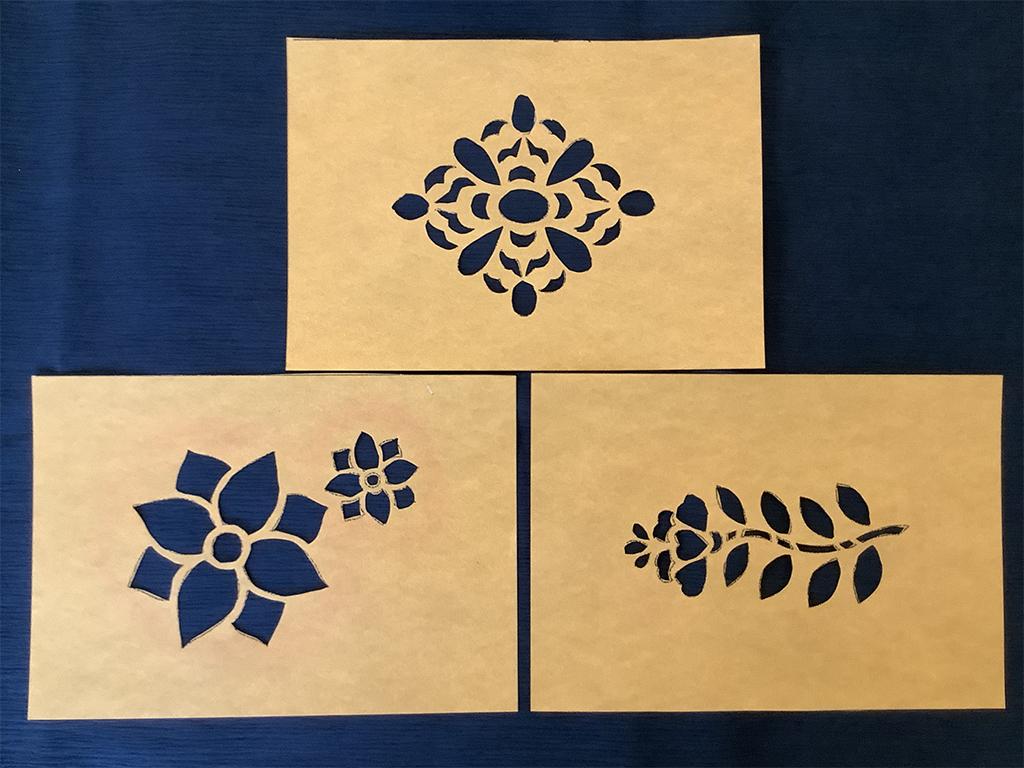 型紙のデザインはこちらの3点。作った型紙はお持ち帰りいただけます。